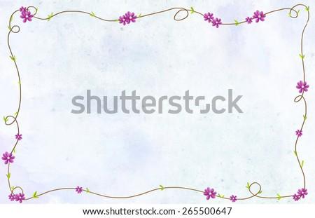 cute purple flowers & green leaves formed rectangle shape border. Romantic, romance, love, elegant, natural, invitation card, valentine, wedding idea background template - stock photo