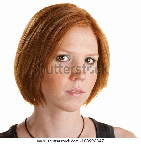 Cute red head portrait close up over white background - stock photo