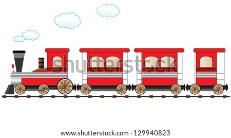 cute red train moving on the railroad - stock photo