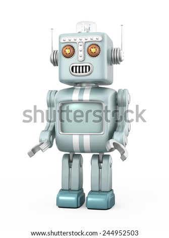Cute retro robot isolated on gray background. Clipping path available. - stock photo
