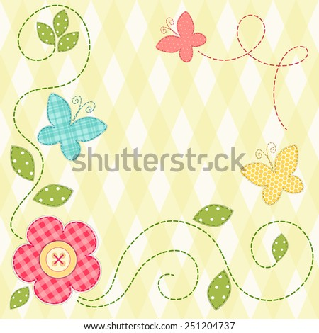 Cute retro spring card as patch fabric applique of flowers and butterflies - stock photo