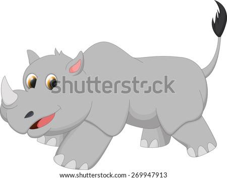 cute rhino cartoon - stock photo