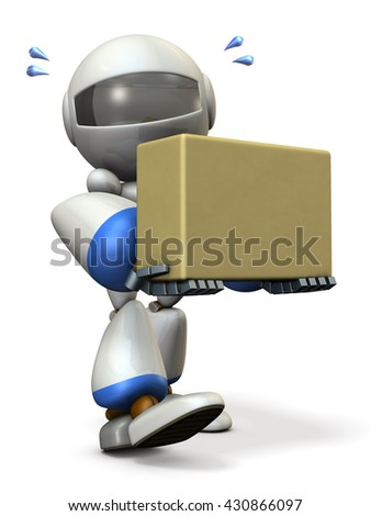 Cute robot carries a cardboard box. 3D illustration - stock photo