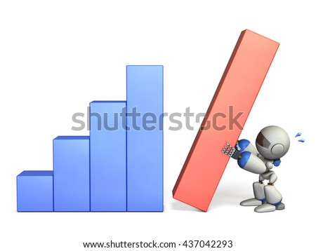 Cute robot had many effort. it was achieved excellent results. 3D illustration - stock photo
