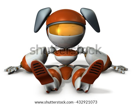 Cute robot had stopped at the dead battery. 3D illustration - stock photo