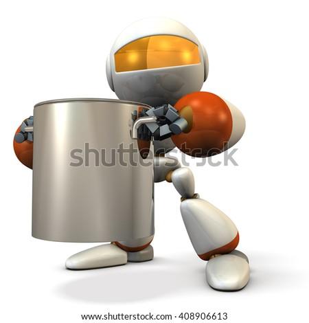 Cute robot has a big pot. 3D illustration - stock photo