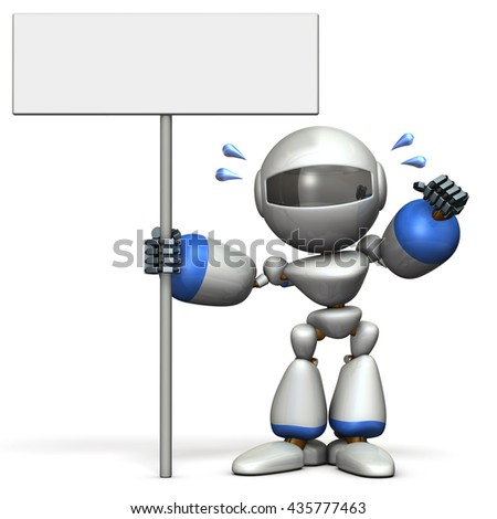 Cute robot has a display intention. 3D illustration, - stock photo