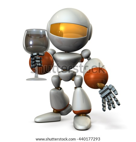 Cute robot has been greeting a glass of wine in one hand. 3D illustration - stock photo