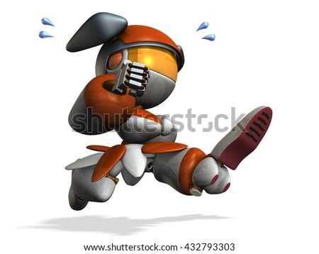 Cute robot is emergency. 3D illustration - stock photo