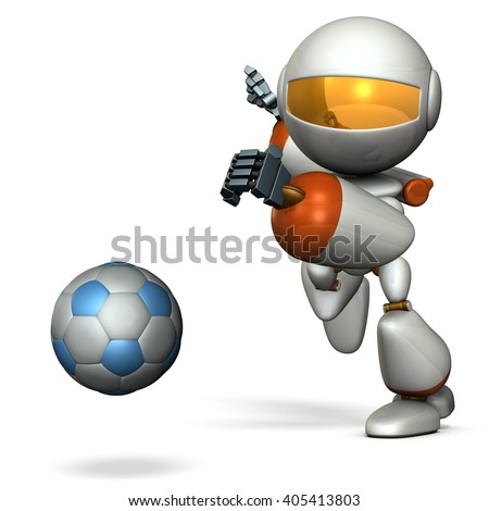 Cute robot is trying to kick a soccer ball. 3D illustration - stock photo