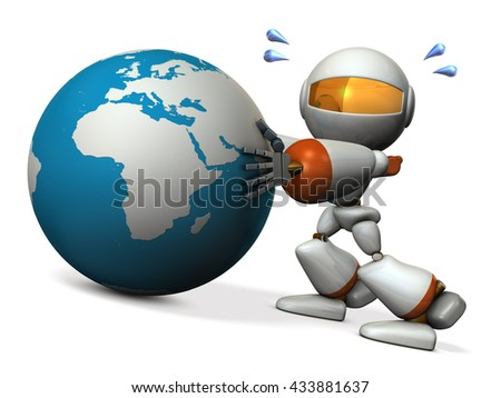 Cute robot protects earth. He will prevent the falling. 3D illustration - stock photo