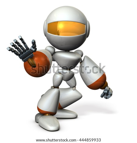 Cute robot rejects the other. 3D illustration - stock photo