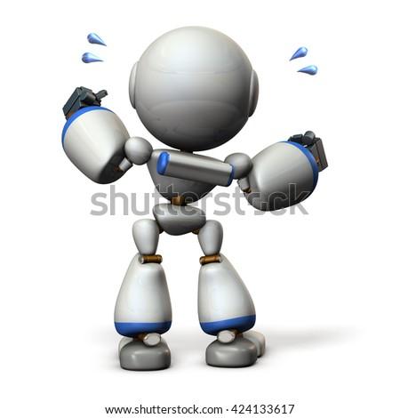 Cute robot will cheer hard. 3D illustration, - stock photo