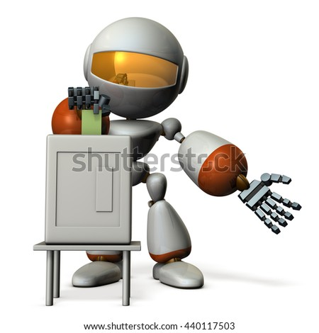 Cute robot will vote.  3D illustration - stock photo