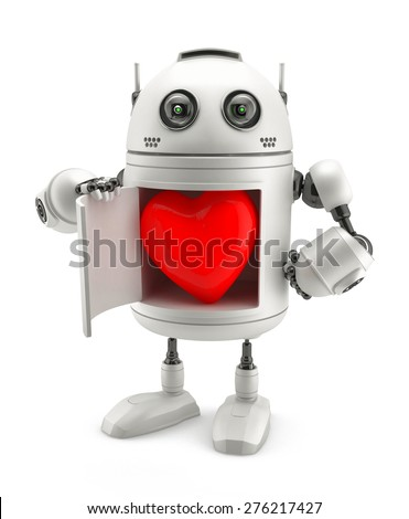 Cute robot with red heart inside. Isolated on white - stock photo