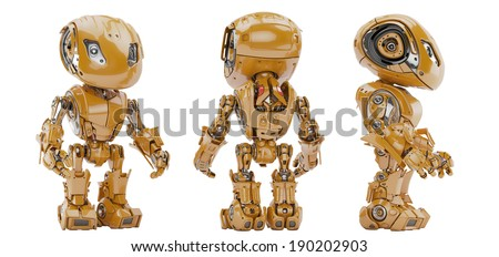 Cute robotic toy 3d render / Smart robot - stock photo