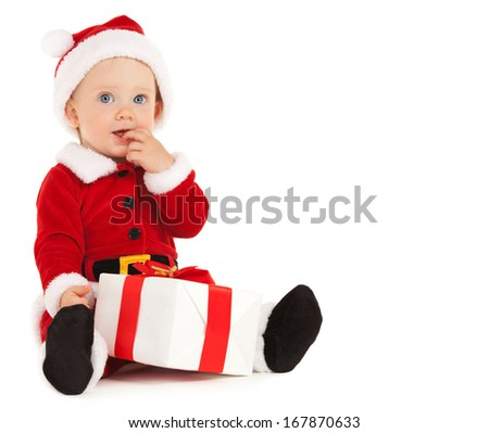 Cute santa baby with beautiful blue eyes on the white background - stock photo