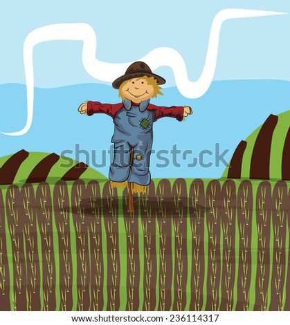 Cute scarecrow a happy looking hay cartoon scarecrow out on the