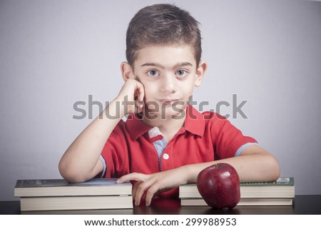 Cute school boy - stock photo