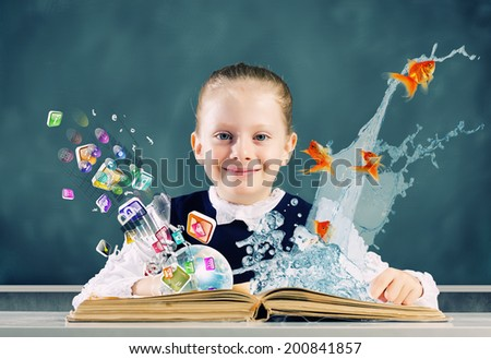 Cute school girl with opened book and icon flying out - stock photo