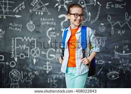 Cute schoolgirl - stock photo