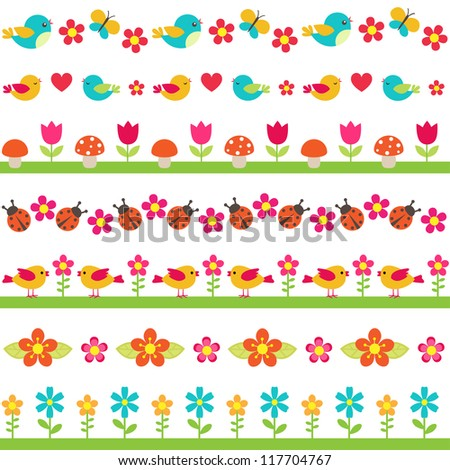 Cute seamless borders with birds and flowers. Raster version. - stock photo
