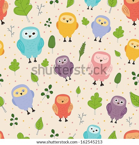 Cute seamless pattern. Funny multicolor owls and leaves on light background. Ideal for textile, wallpaper, wrapping. - stock photo
