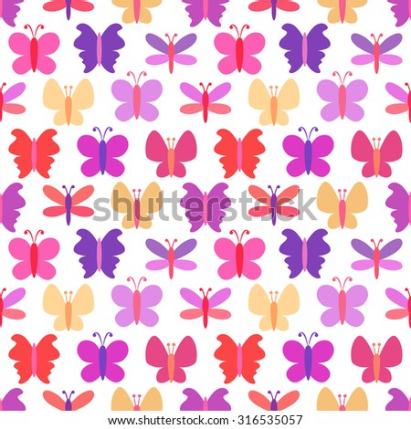 Cute seamless  pattern of colorful butterfly silhouettes. Endless texture can be used for printing onto fabric, web page background and paper or invitation. White, pink, purple and yellow colors - stock photo