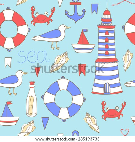 Cute seamless pattern with sea elements: lighthouse, boat, anchor, lifebuoy, shell, flags, seagull, crab, bottle with letter on the blue background with splashes. Vintage hand drawing summer backdrop. - stock photo