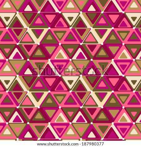 Cute seamless retro pattern of triangles. Seamless background can be used for wallpaper, pattern fills, web page background, surface textures. - stock photo
