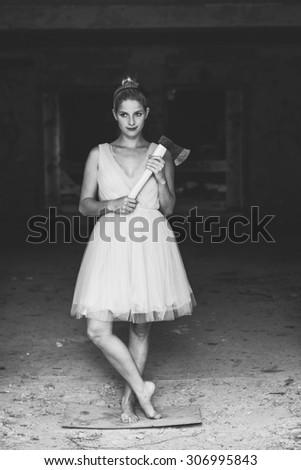 Cute serial killer woman - stock photo