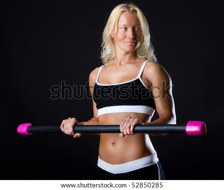 Cute sexy athlete with good body - stock photo