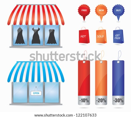 Cute shop icons - stock photo