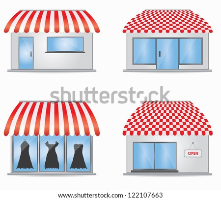 Cute shop icons with red awnings - stock photo