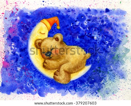 Cute sleeping baby bear on moon, watercolor. - stock photo