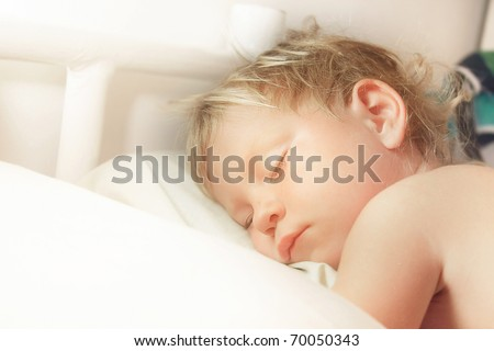 cute sleeping child - stock photo