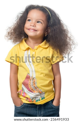Cute small  african american girl standing with a smile isolated on white - stock photo