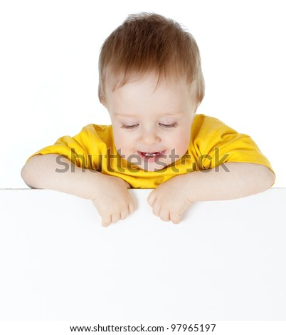 cute small child with blank advertising banner - stock photo