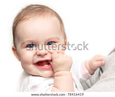 Cute smiling baby girl - stock photo