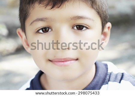 Cute smiling child.Close up portrait - stock photo
