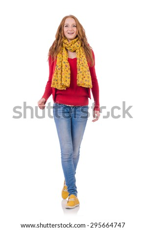 Cute smiling girl in red jacket and jeans isolated on white - stock photo