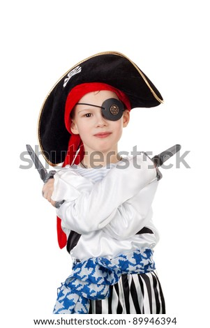 cute smiling little boy in the pirate costume - stock photo
