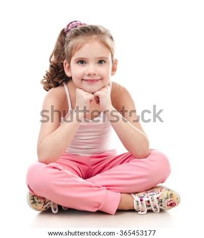 Cute smiling little girl gymnast isolated on a white - stock photo