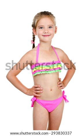 Cute smiling little girl in swimsuit isolated on a white - stock photo