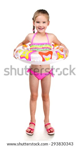 Cute smiling little girl in swimsuit with rubber ring isolated on a white - stock photo
