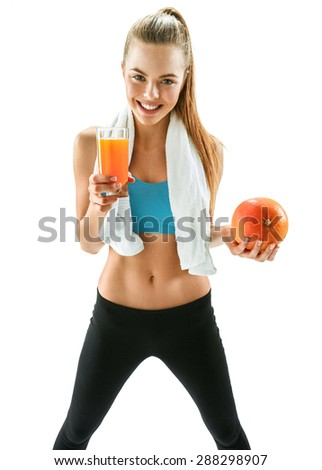 Cute smiling woman with fresh juice and grapefruit, health and beauty care concept / photo set of cheerful brunette girl with healthy dietary eco organic food over white background - stock photo