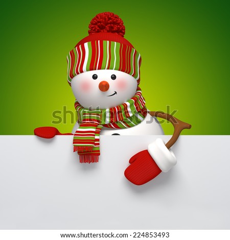 cute snowman holding blank banner, holiday background, 3d cartoon character illustration - stock photo