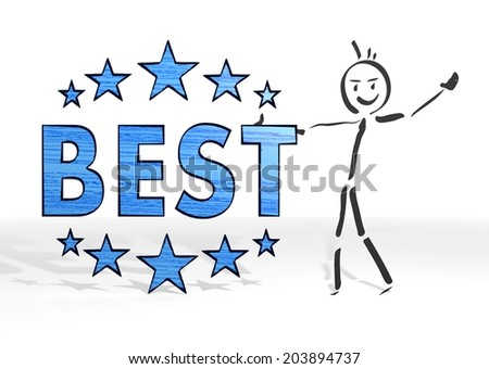 cute stick man presents a best sign white background - stock photo