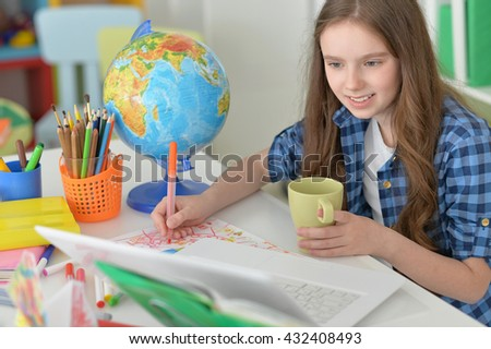 Cute  student girl at class - stock photo
