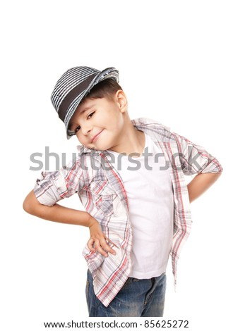 Cute stylish happy little boy in hat isolated on white background - stock photo